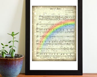 Grateful Dead, Box of Rain, Bokeh Stars, Rainbow,on Song Music Sheet, Print