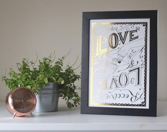 Copper Foil Print 'Give Love, Receive Love' // Gold Foil print - Silver Foil Print - A4 Print - Home Decor Wall Art