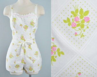 Vintage 60s CEEB of Miami Romper / 1960s Novelty Print Pink STRAWBERRY Berry Fruit Green Leaf White Cotton Pinup Sunsuit Playsuit Medium M