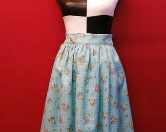 SALE: Floral blue skirt, Sweet Lolita, Pin Up, Summer Skirt