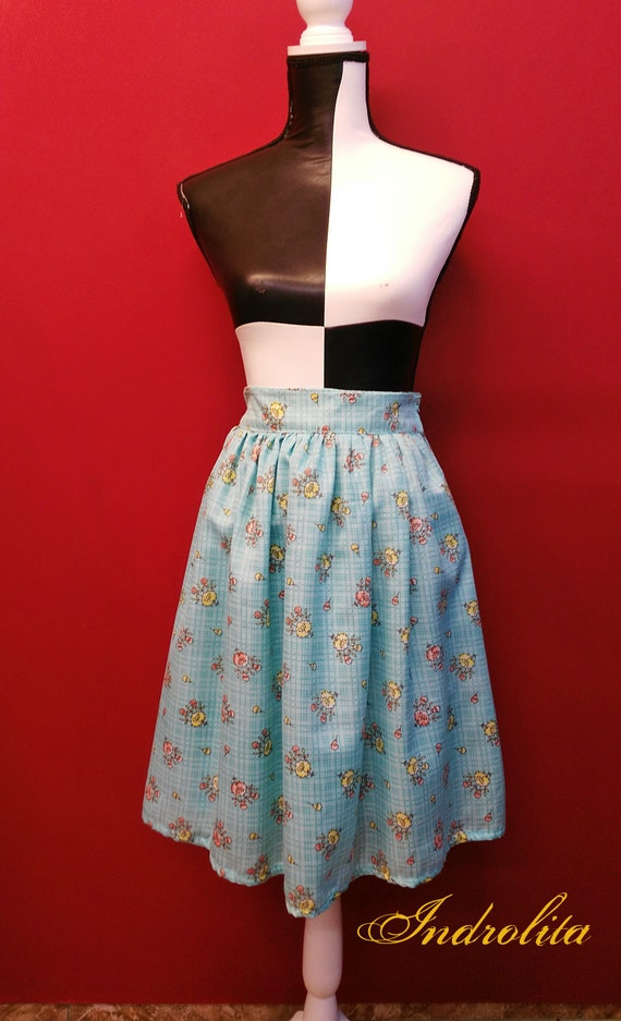 Pin up Blue Floral Skirt, Vintage Style