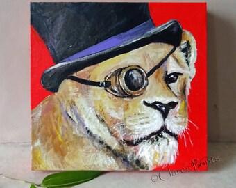 Steampunk Lion Art Original Acrylic Painting on Canvas OOAK