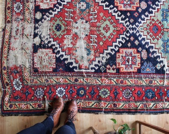 "vintage rustic Persian rug, antique large indigo and red rug , happy bohemian area rug 10'1"" x 5'2"""