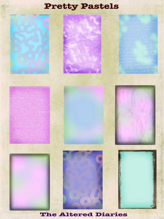 Shabby Chic Collage Sheet, Pastel ATC Backgrounds, Blues Collage Sheet, Pink Collage Sheet, Instant Download