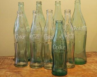 Lot of Nine - 9 Coke Bottles