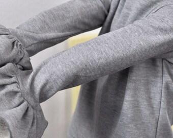 Grey Herringbone Ruffle Layering Shirt / Long Sleeve Layering Shirt for Girls