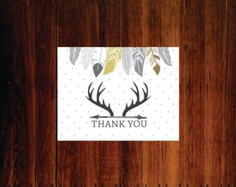Feathers and antler, boho rustic deer thank you cards - set of 12