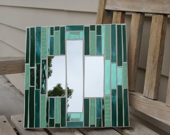 Mirror, mosaic mirror, stained glass mosaic mirror, art glass mosaic mirror, light green mosaic mirror, green glass mosaic mirror