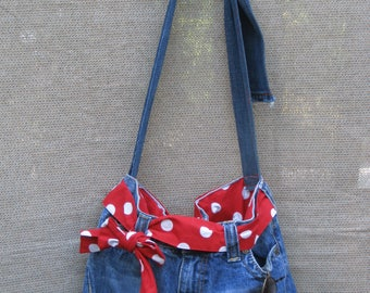Roxy, Jean, Denim, Purse, Bag,  with Red and White Polka Dots