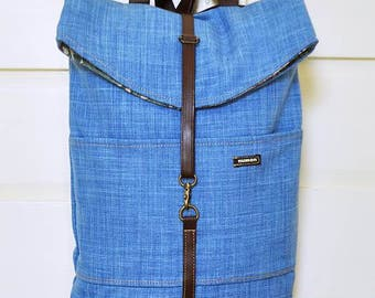 Backpack, small backpack, vegan, upcycled, recycled, eco-friendly, upholstery, blue, made in barcelona