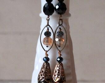 Gold Silver Crystal Earrings, Long Black Dangle Earrings, Statement Black Earrings, Boho Black Earrings, Bridesmaid Earrings, Cyber Monday