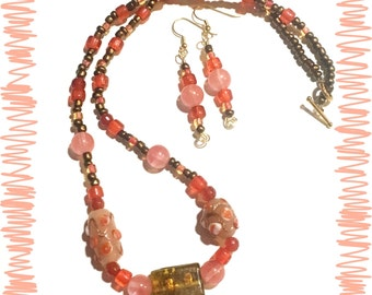 OOAK Bohemian Orange and Pink Quartz Jewelry, Plus Size Strawberry Quartz and Glass Blown Beads Jewelry, Statement Necklace, gifts for her,