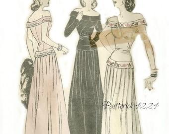 1940's Evening Dress Off Shoulder Dropped Waist Gown Butterick Pattern 4224 Size 12, Bust 30 FF
