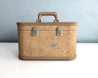Vintage Train Case Travel Joy, Small Tweed Suitcase, Vintage Luggage, Cosmetic Case, Makeup Case, Overnight Case, Vintage Suitcase