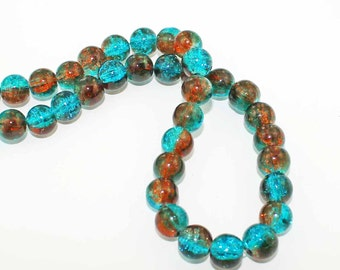 20 Crackle Glass Beads 10mm - Simply Stunning Tones of Aqua and Burnt Sienna BD101