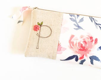 Blush Wedding, Blush Bridesmaid Clutch Purse, Monogram Clutch Bridesmaid Gift, Blush and Navy, Gift for Wedding Party MADE TO ORDER