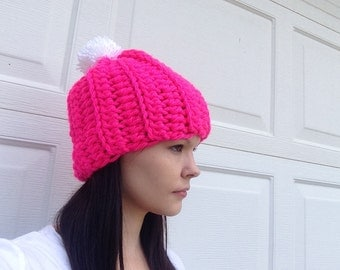 Womens Hot Pink Chunky Ribbed Hat, Ready To ship, Thick Winter Beanie- Beanie- Pom Pom Hat