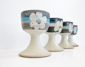 1972 Pacific Stoneware Wine Goblet Set B Welsh Art Pottery Cups Hippie Era California Ceramic Art Mod Hip Retro Flower Power Style Design