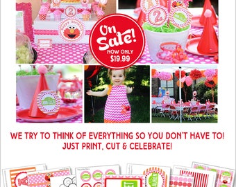 Girl Elmo Birthday Decorations | Pink Elmo Party Printable | Girl Sesame Street Birthday | Elmo 1st Birthday | Amanda's Parties To Go