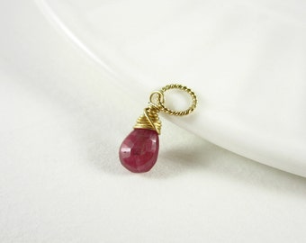 Dk- Genuine Ruby Birthstone Charm - Natural Stone Jewelry - Natural Ruby Pendant - 14k Gold Charms - Precious Stone Pendant