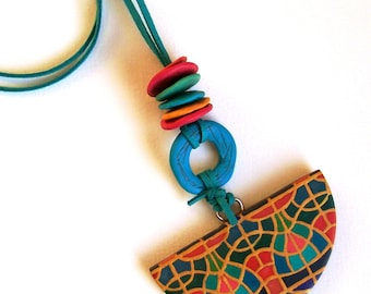 Long pendant necklace polymer clay artisan statement necklace art deco and tassel necklace