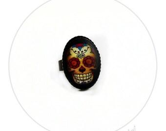 Ring Mexican Sugar Skull Tattooo - Brass Oval Pad