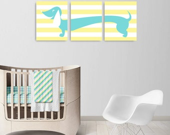 Dachshund Canvas, Nursery Dachshund Wall Art, Doxie Decor Pet Dog Nursery Dachshund Set of 3, Dog Pet Wall Art, Gift Dachshund Decor Art