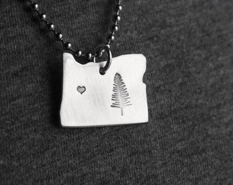 Necklace OREGON Home ONE Hand Stamped Jewelry Aluminum Stainless Steel Chain Sturdy STATE Tree Alumni Long Distance Friends Boyfriend