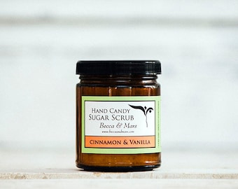 Sugar Scrub, Cinnamon and Vanilla Hand Candy Sugar Scrub, Hand Scrub, 8oz Sugar Scrub