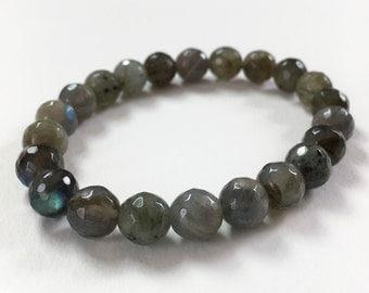 Labradorite Bracelet - Labradorite stretch bracelet, gemstone stretch bracelet, stretchy bracelet, labradorite, gemstone beaded bracelet