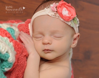 Tieback Headband, Newborn Headband, Newborn Photo Prop, Coral Pink Tieback, Spring Tieback, Newborn Tie Back, Newborn Headband, Newborn Halo