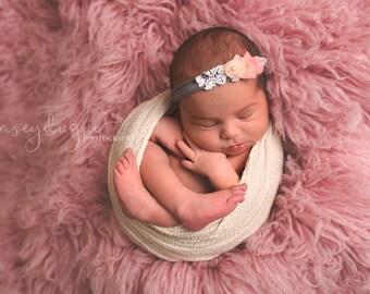 Newborn Tieback, Blush Pink Gray Tieback, Baby Tieback, Newborn Photo Prop, Newborn Halo, Vintage Tieback, Newborn Headband, Rosette Tieback