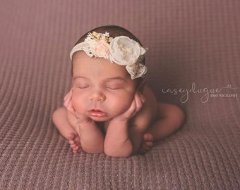 Newborn Tieback Headband, Nude Cream Off White Flower Tieback, Newborn Photo Prop, Floral Crown, Newborn Tie Back Headband, Newborn Halo