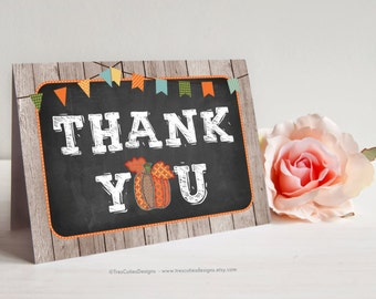Fall thank you card - Pumpkin - Printable - Instant download