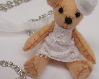 Necklace Lolita Teddy Bear Felt Meilosito