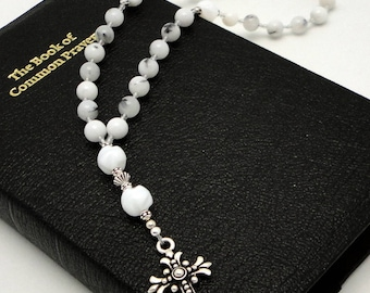 Anglican Rosary / Protestant Prayer Beads in White Dendritic Quartz with TierraCast Silver Pewter Fleur Cross