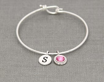 New Mommy Bracelet, New Mother Gift, Silver Initial Birthstone, Mothers Day Birthstone Bracelet, October Birthstone Jewelry