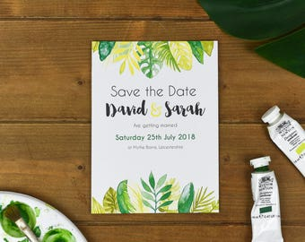Tropical Wedding Save the Date Card - Rustic Save the Dates - Spring Wedding Stationery - Save The Date Postcard - Save the Date Template
