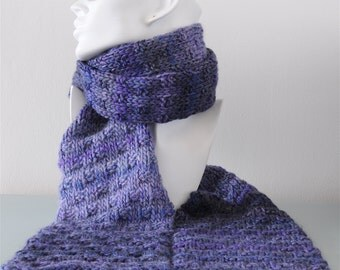 Purple Basketweave Scarf - Knitted Woven Stitch Chunky Blue Merino Wool Acrylic Winter Accessory Gift for Her by Emma Dickie Design