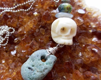 Bone Skull, Green Slag Glass, Chalcedony and Czech Glass Necklace -- One-of-a-kind