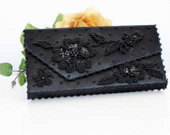 Vintage 1950s 1960s Black Satin Clutch Purse / 50s Fortune Beaded Cocktail Handbag / Evening Hand Bag / Made in Hong Kong