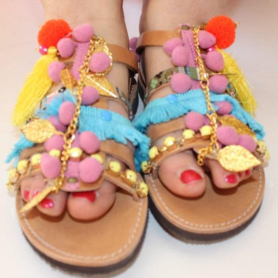 Pompom Sandals, Boho sandals, gladiators, greek sandals, women's sandals sandales femme