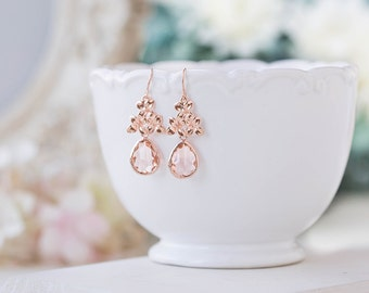 Rose Gold Peach Champagne Crystal Dangle Earrings Peach Wedding Jewelry Bridal Earrings Bridal Party Bridesmaids Gift Lilac Earrings
