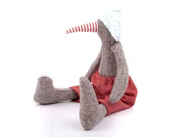 Cloth goose doll , Stuffed Animal bird , Plushie Softie Rag doll , stuffed animal ,woodland plushie toy , eco gray silk duck ,red turquoise