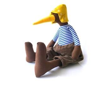 Softie plush duck , stuffed doll  , Rag Doll , Bird Stuffed Animal , Soft bird , toy for home decor , whimsical doll , Brown blue mustard