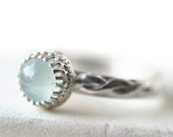 Celtic Aquamarine Ring, Women's Sterling Silver Engagement Jewelry, Custom Engraving, Aqua Stone