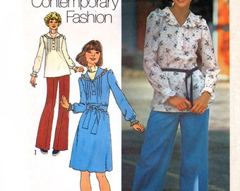 Simplicity 7086 Vintage 70s Sewing Pattern for Misses' Dress or Top and Pants - Uncut - Size 12 - Bust 34