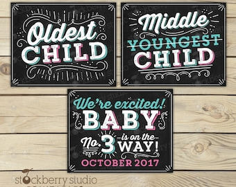 3rd Pregnancy Announcement Sign - Oldest Middle Youngest - Photo Props - Pregnancy Reveal - 3rd Baby Announcement Sign - Were Expecting