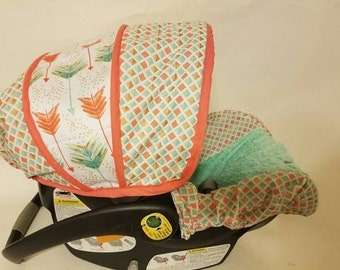 Baby Car seat Cover, Coral, Mint, gold , Arrows Infant car seat cover, Tribal baby canopy, baby canopy, baby seat slipcover