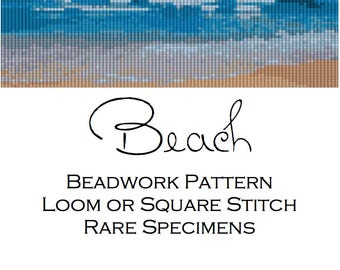 Beach Beadwork Pattern for Loom or Square Stitch - Cuff Bracelet - Bookmark - Beaded Tapestry - PDF instant download